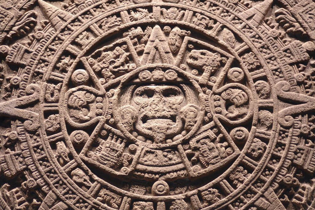 stone engraving of the Aztec calendar