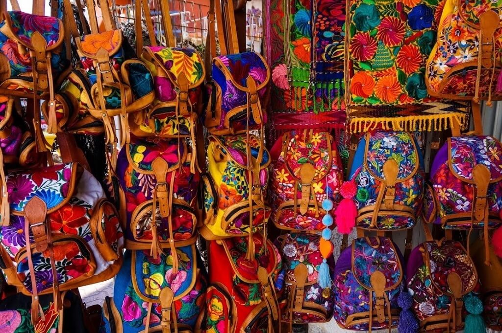 colorful Mexican backpacks