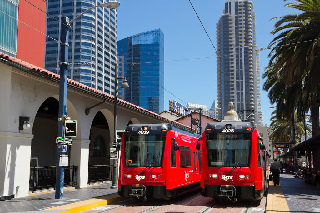 red trolleys in San Diego