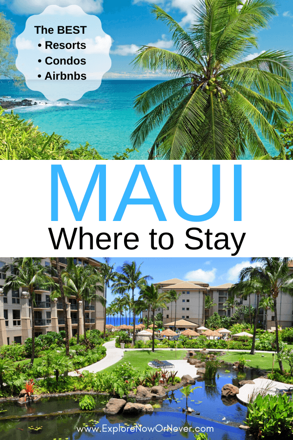 text overlay of Maui hotel and beach shot