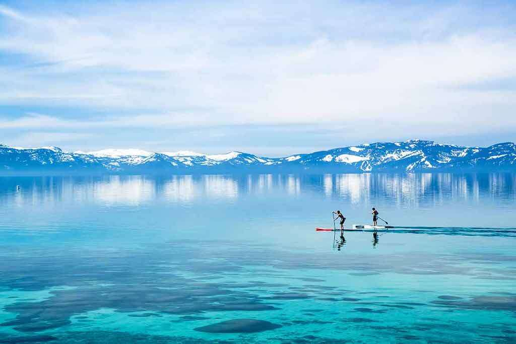 two SUP boarders on Lake Tahoe
