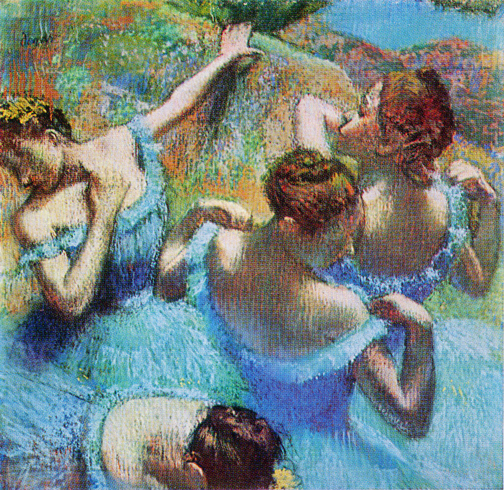 painting of ballerinas in blue