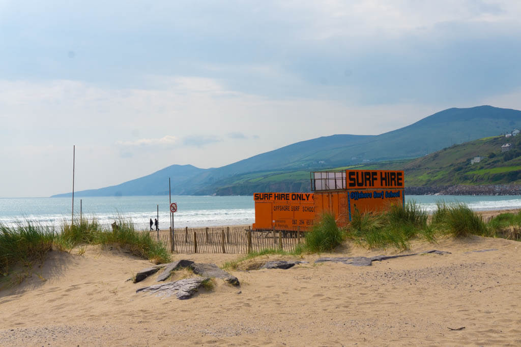Surfing sign on Inch Beach