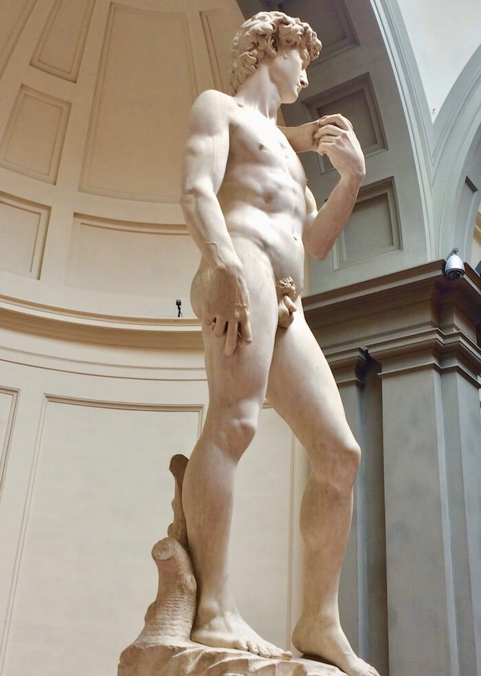 Sculpure of Michaelangelo's David at the Accademia in Florence Italy