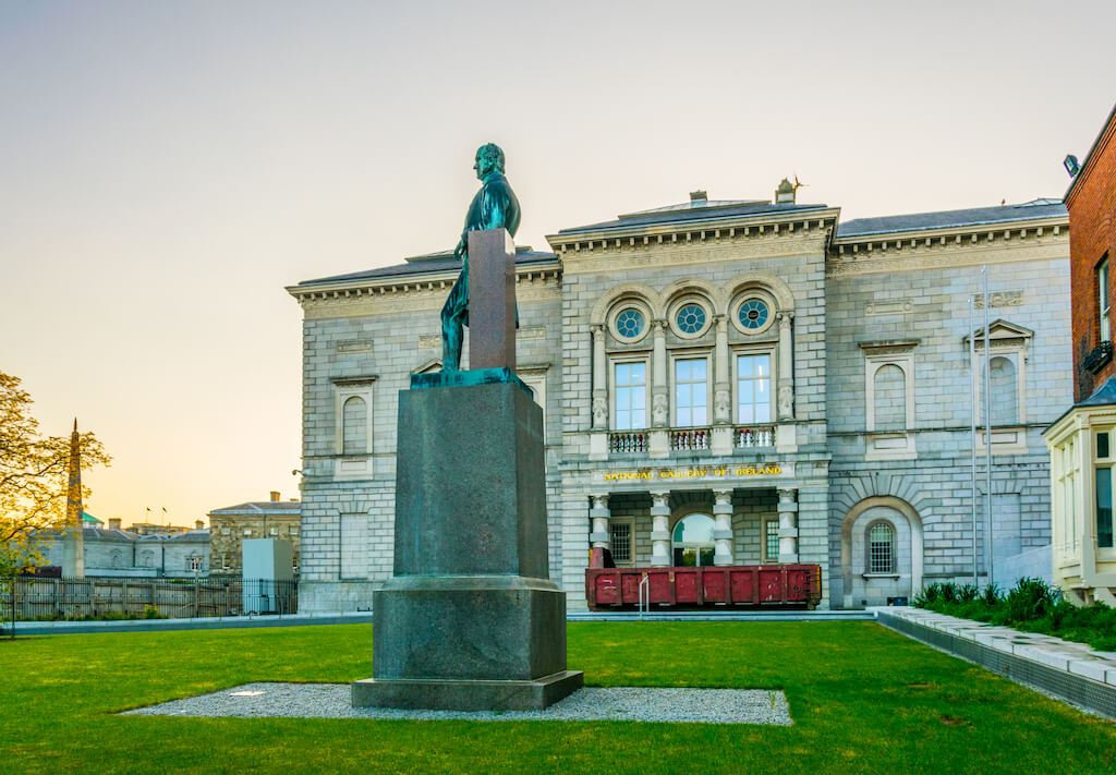 Sunset view of the National gallery of Ireland, Dublin