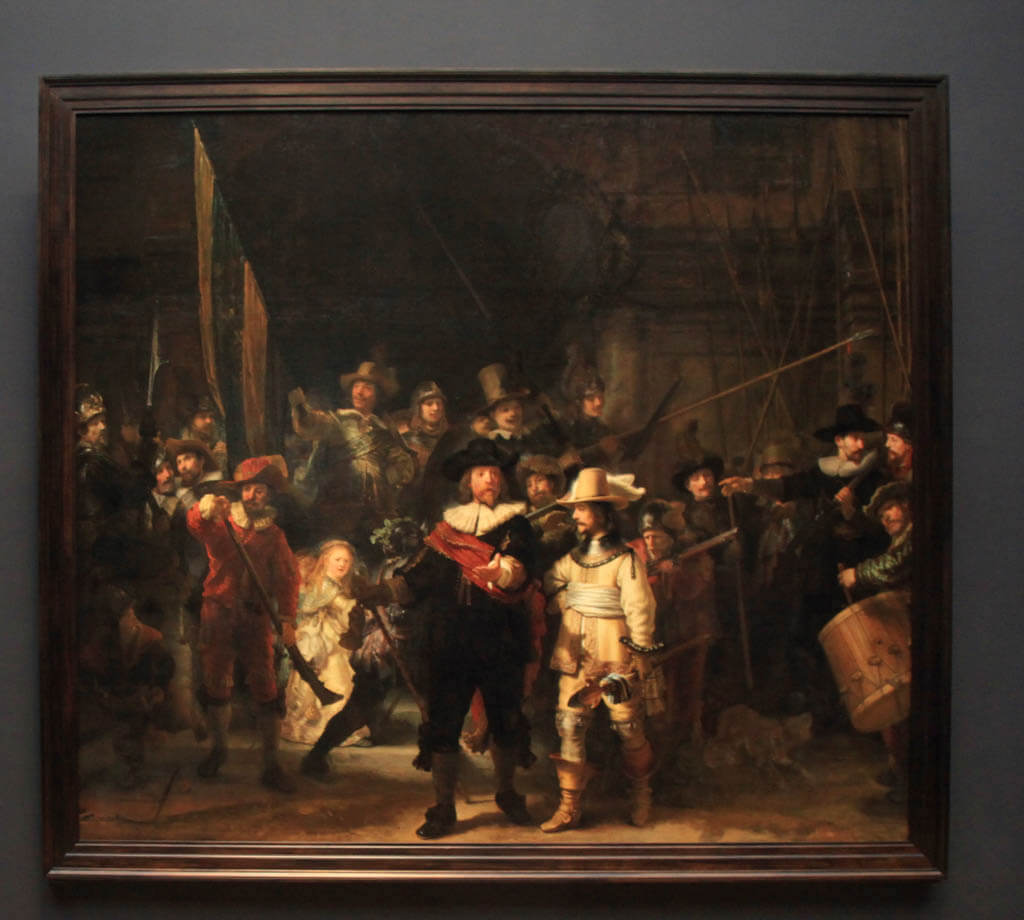 Photo of Rembrandt's famous painting The Nightwatch