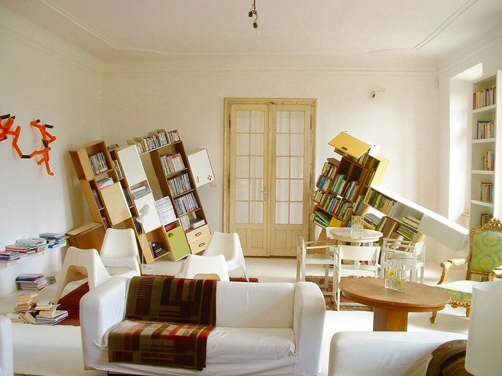 modern art arrangement of book shelfs
