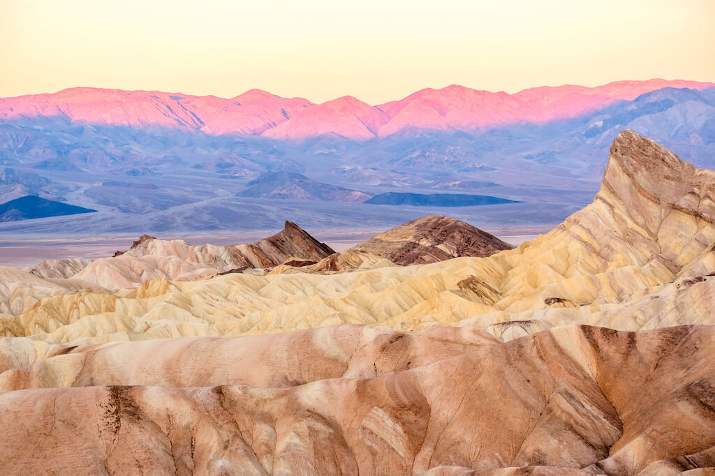 Death Valley National Park - Zabriskie Point at sunrise.