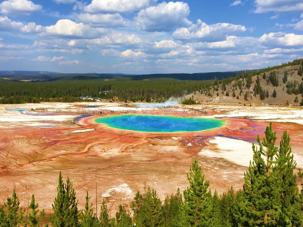 Grand Prismatic Spring, one of the best hikes in Yellowstone