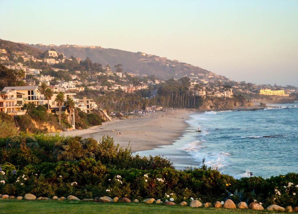 Laguna Beach coastline and ocean, homes on bluffs