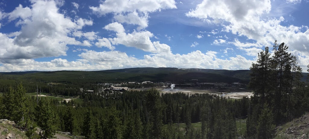 View of Old Faithful from Observation Point Trail