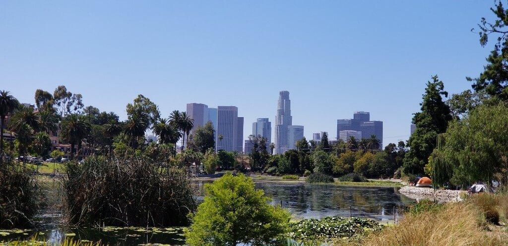 Echo Park Lake in LA with cityscape