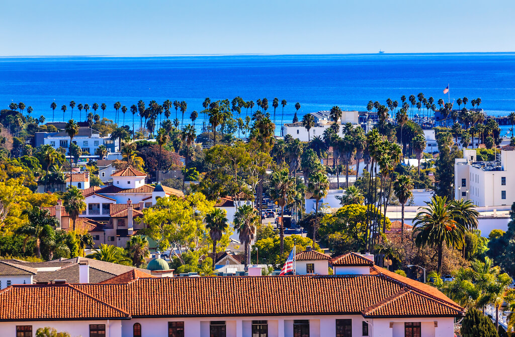 red tile roofs in Santa Barbara California, a great place for California in October