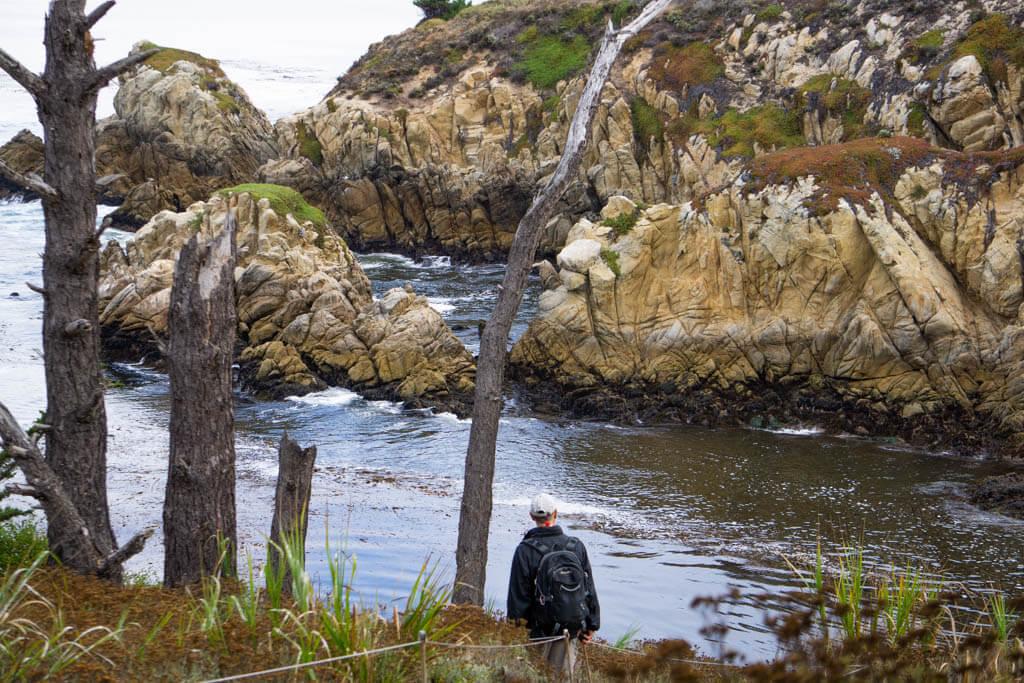 man walking along rocky coast at Point Lobos