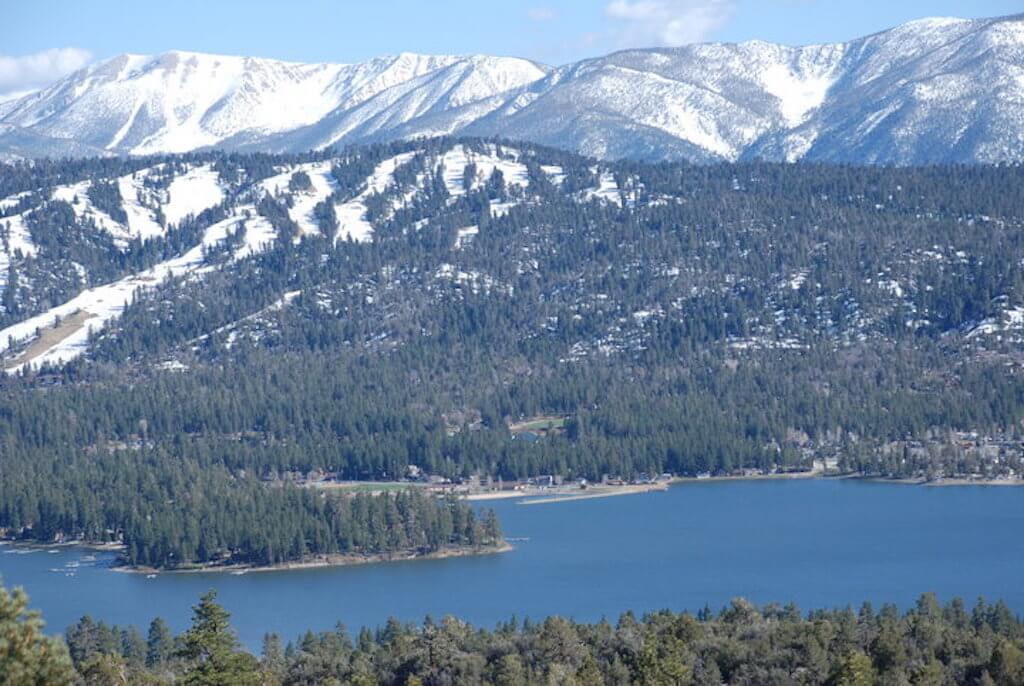 Big Bear Lake and snow covered mountains in January
