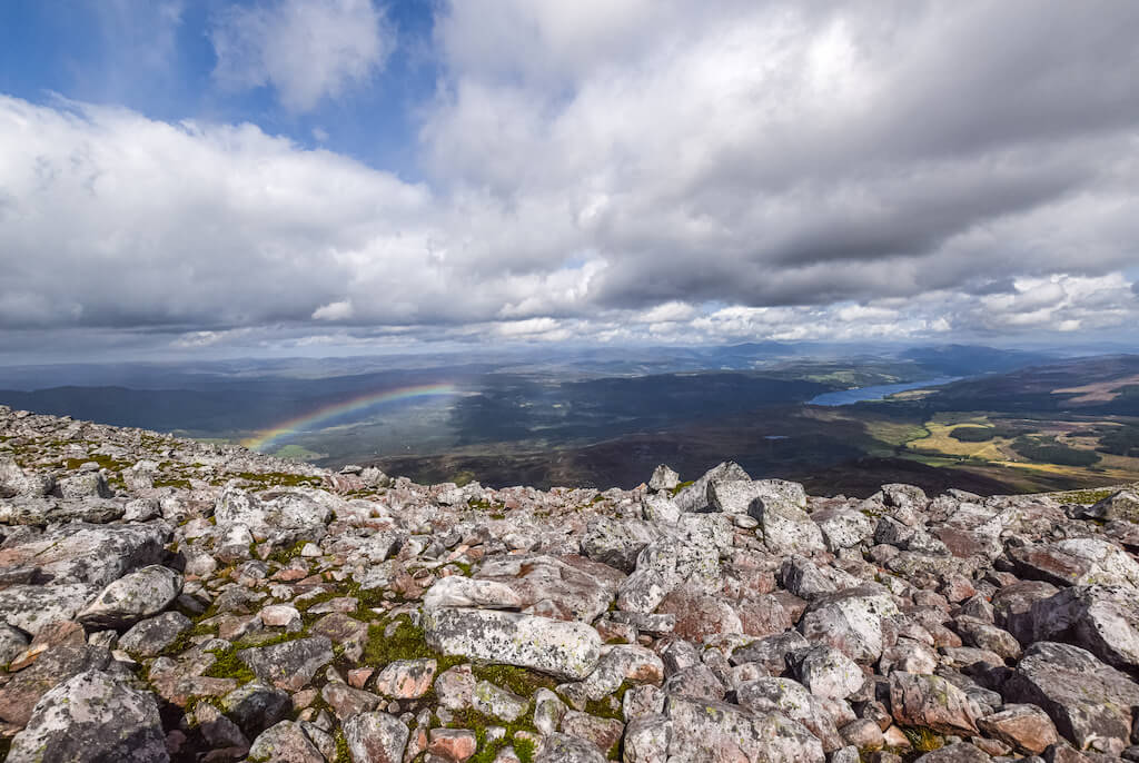view of Highlands from Schiehaillon Peak with rainbow