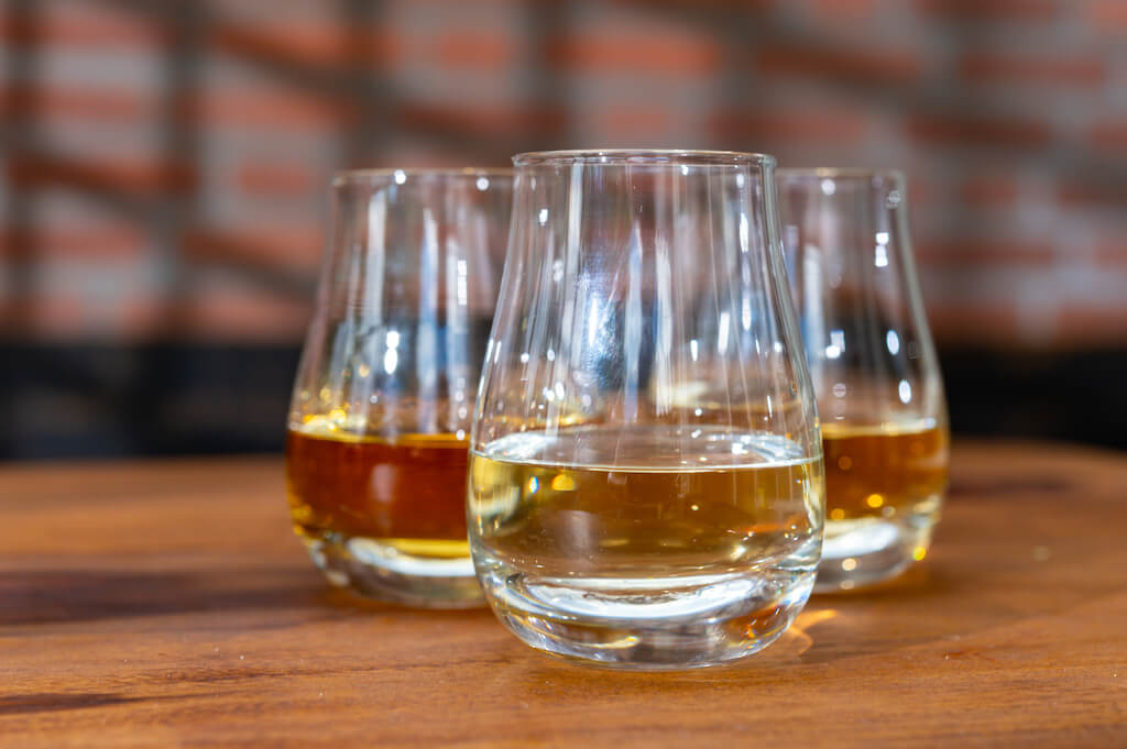 three glasses of whisky at a whisky tasting