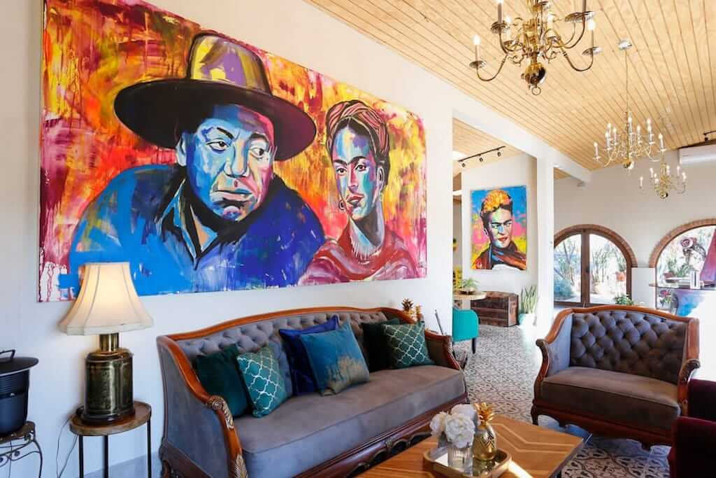 colorful mural in a living room