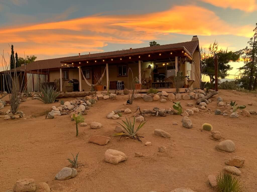 ranch house at sunset
