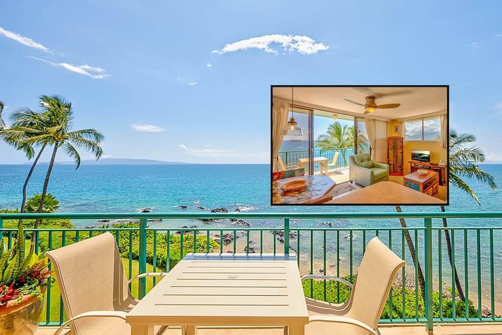 oceanview and living room of Kihei condo
