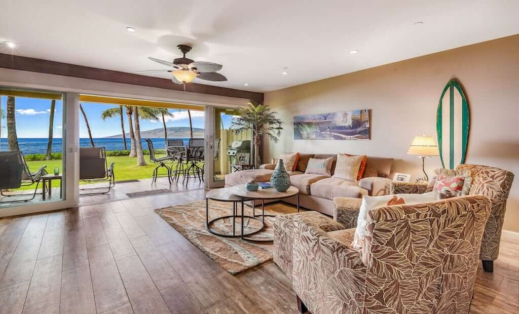 interior of condo with ocean view