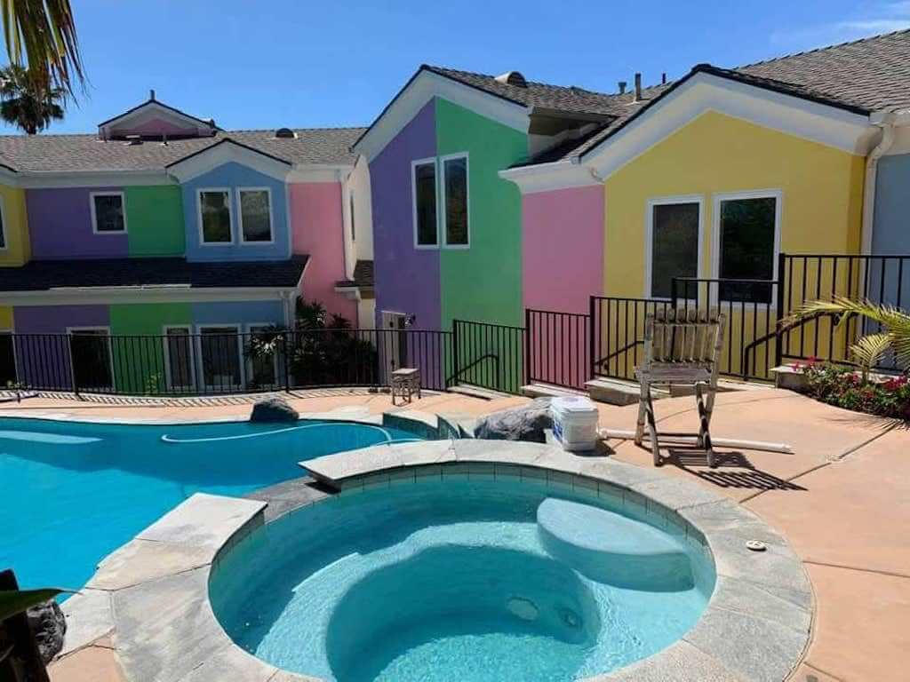 colorful houses by a pool