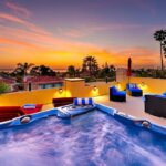 rooftop view and jacuzzi at sunset