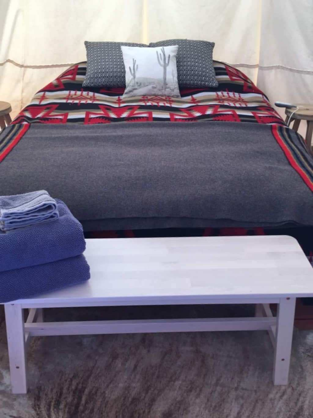 bed inside tipi
