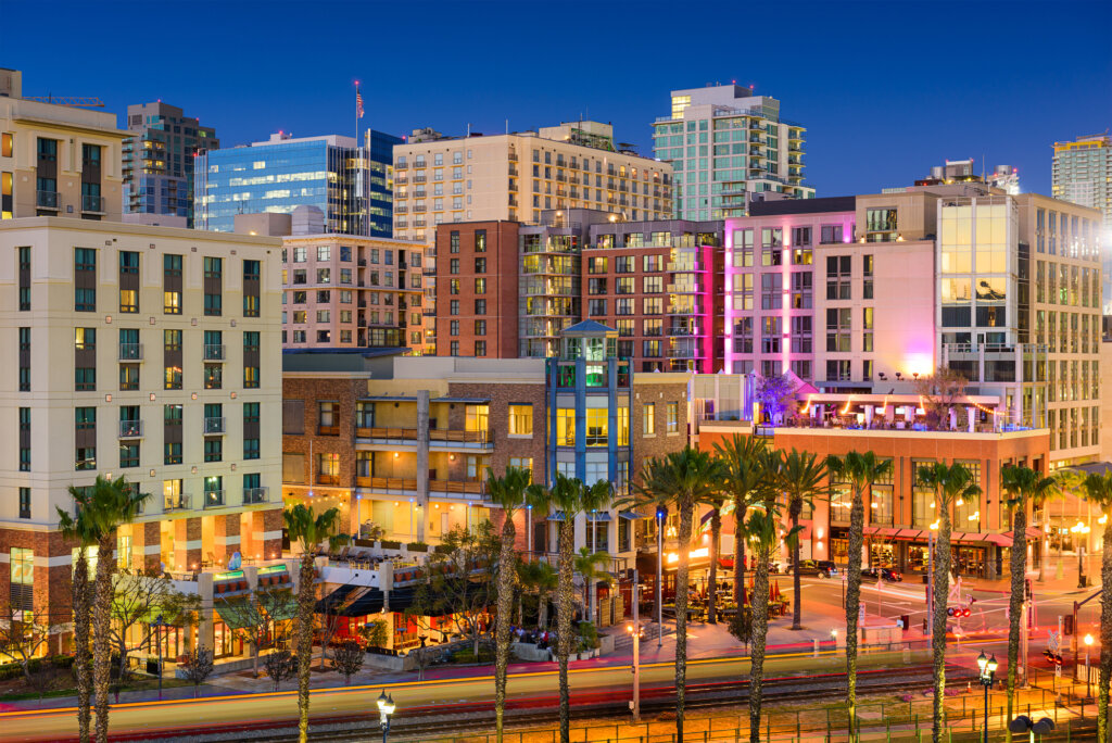 colorful nightlife in Gaslamp district