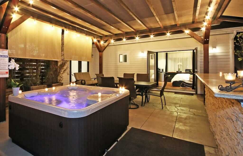 outdoor hot tub and patio