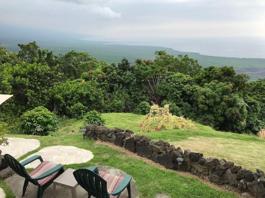 patio chairs looking over Kona coast