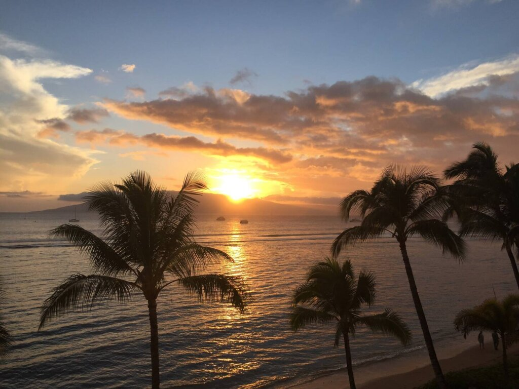 sunset over the ocean near Lahaina