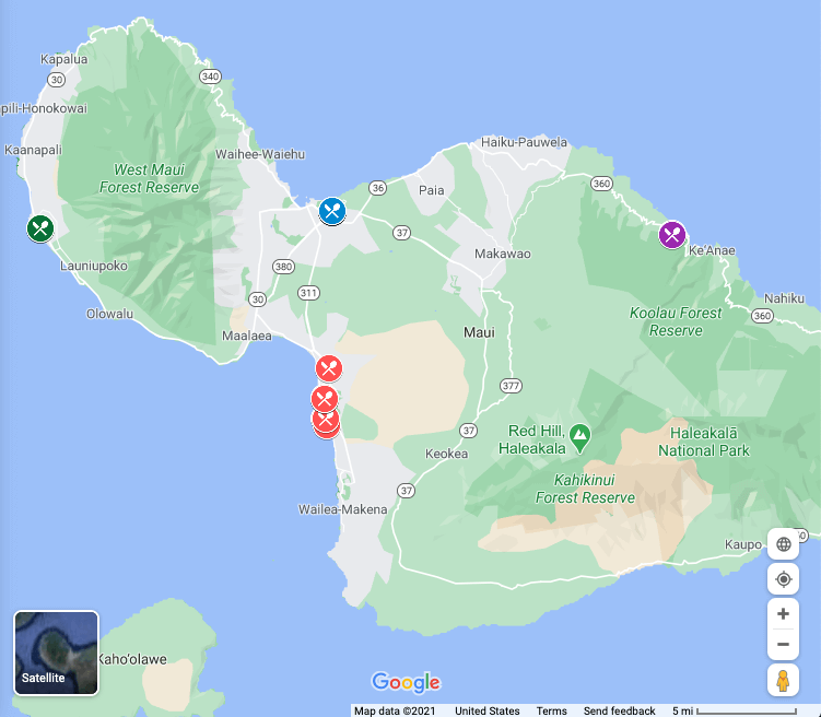 image of Google maps with Maui food trucks by location