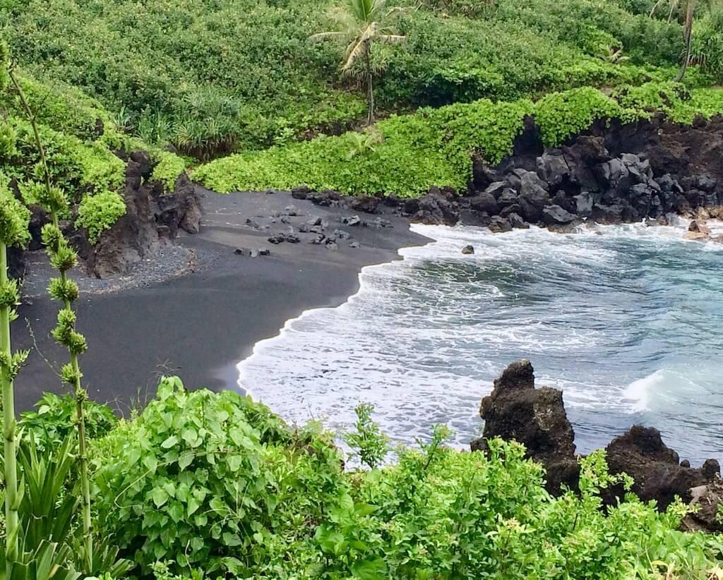 Wainapanapa State Beach, a black sand beach