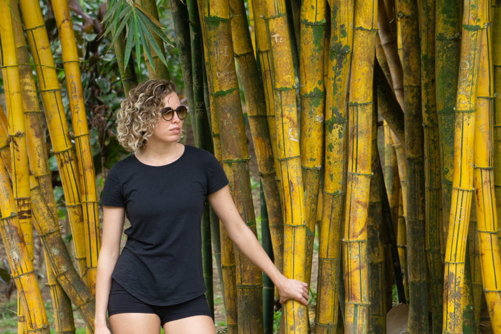 girl in a bamboo forest