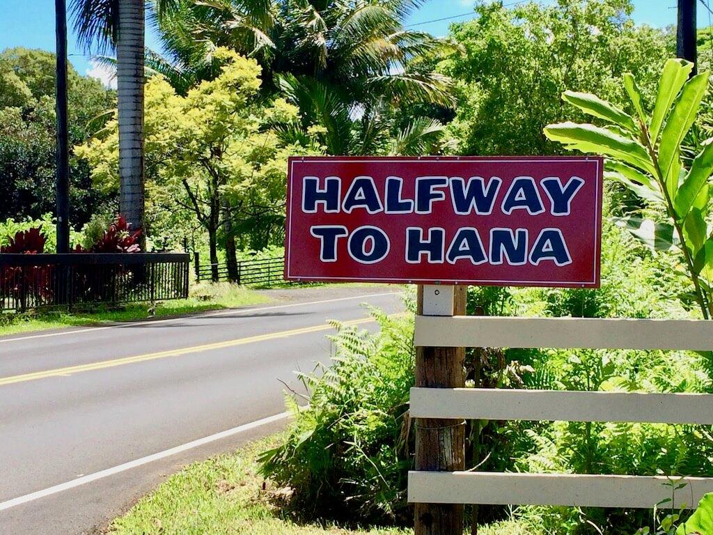 Halfway to Hana sign