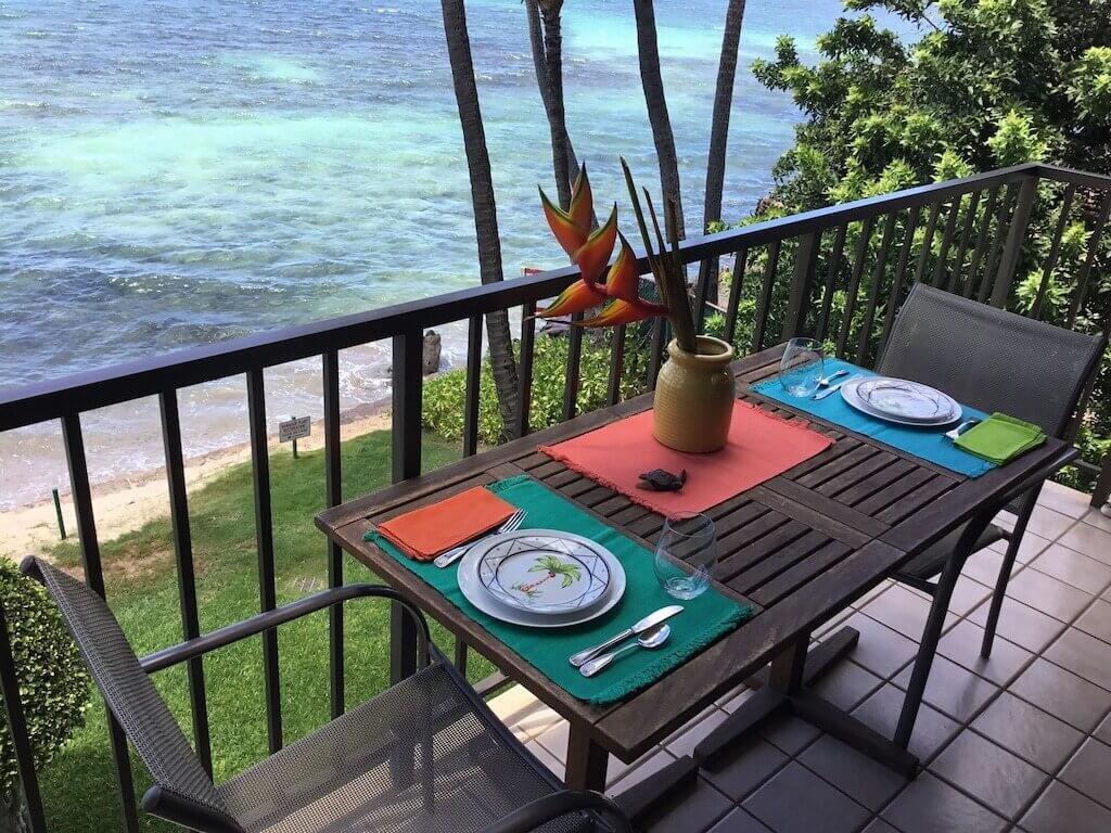 lanai with beach view