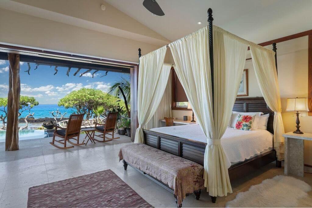 bedroom interior with ocean view