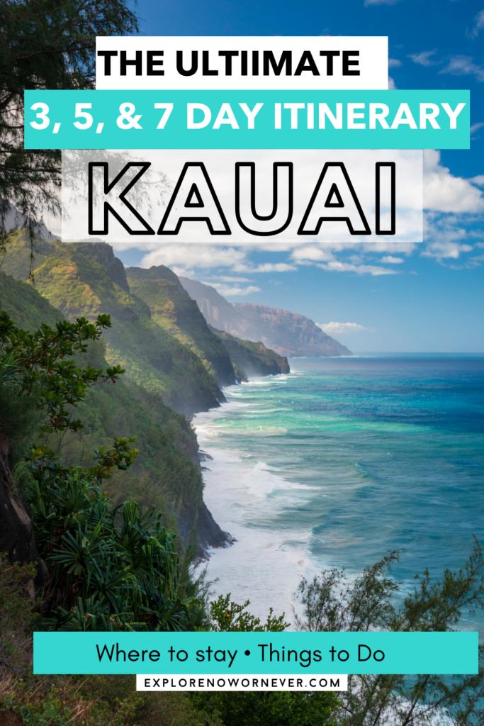 Kauai coastline with ocean