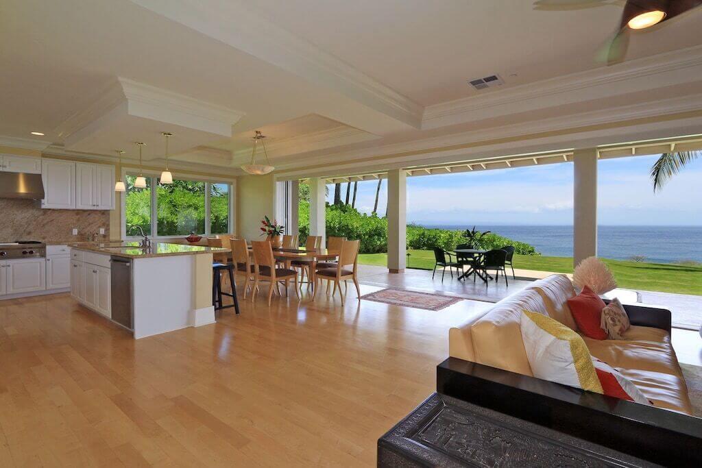 indoor outdoor home with ocean view