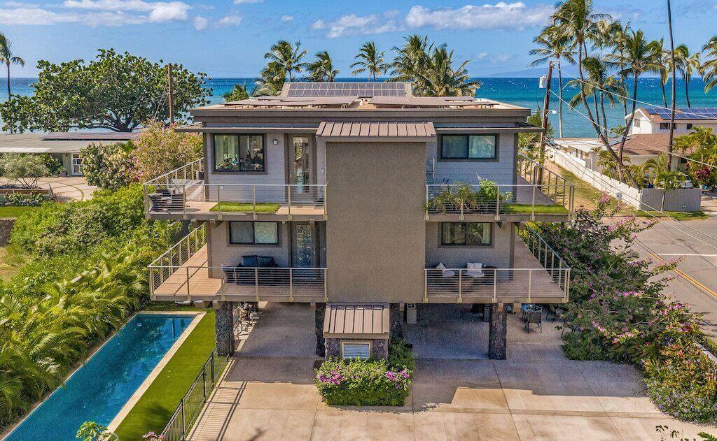 Beach house aerial view