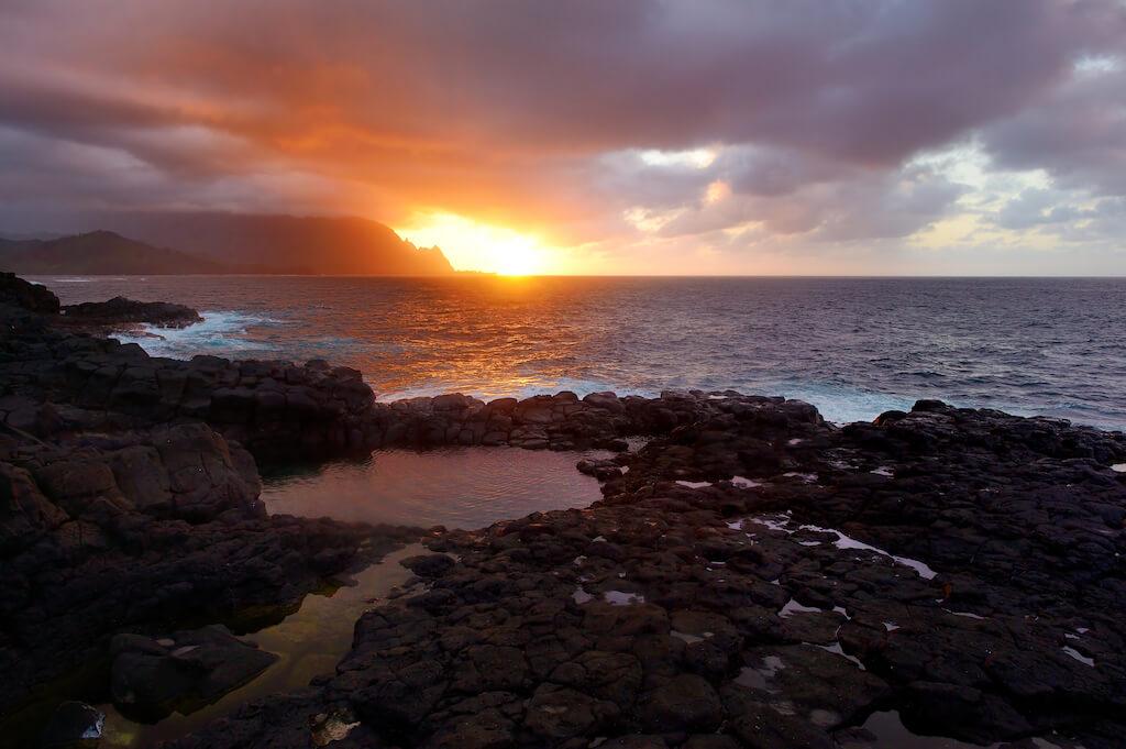 tidepool at sunset