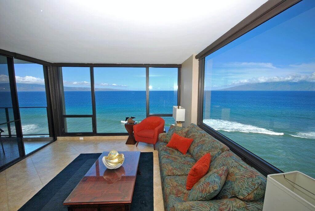living room interior with beautiful ocean view