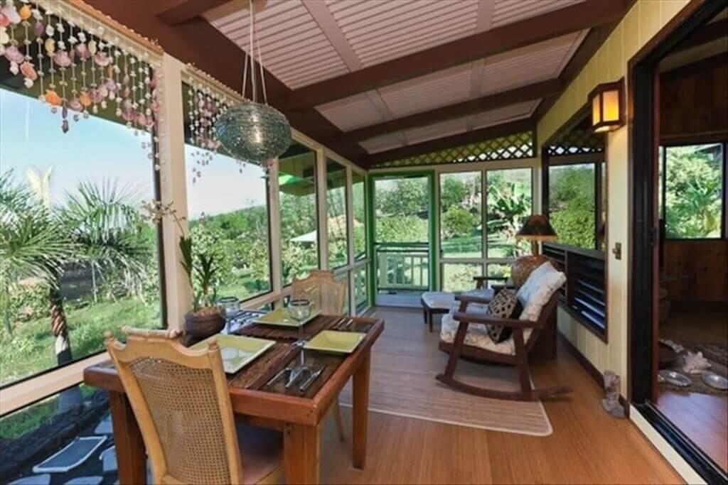 lanai with mango trees view