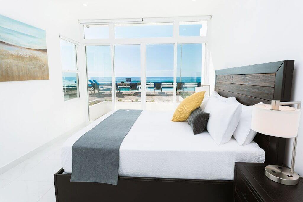 bedroom interior with ocean view