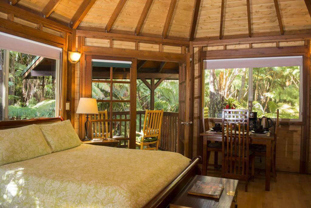 Interior bedroom in the rain forest