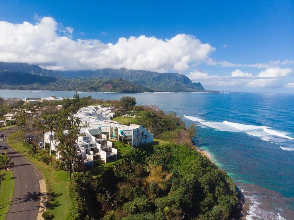 Princeville aerial view of pacific ocean