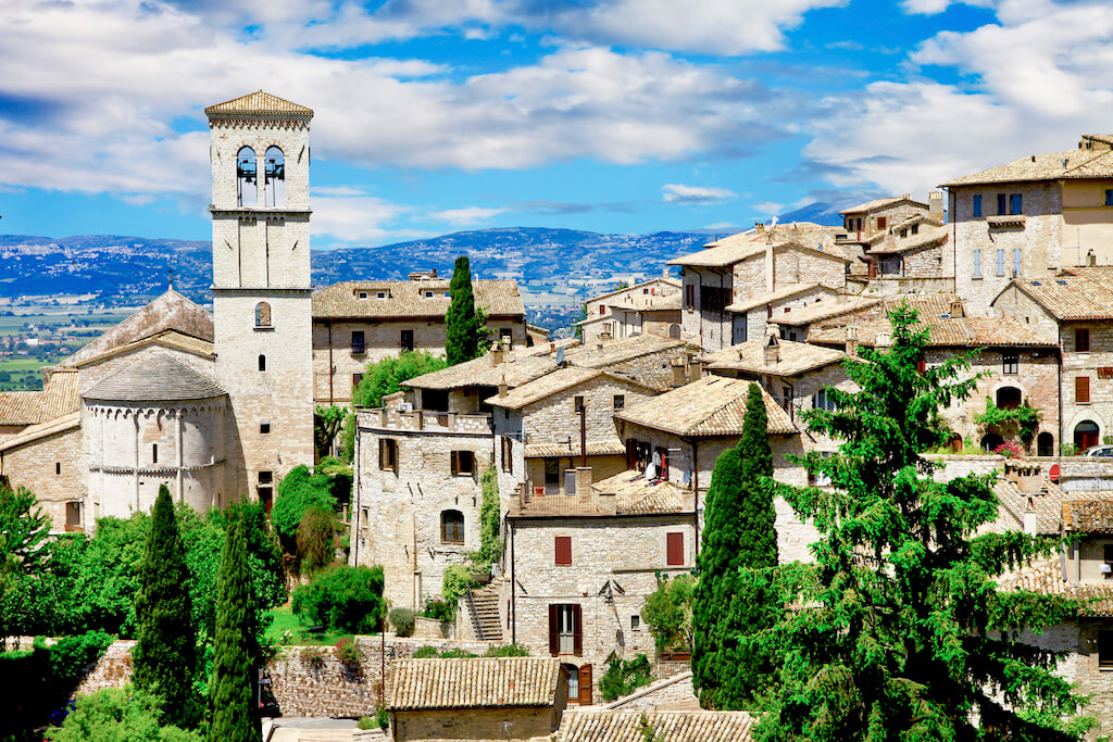 View of bell tower in Assisi