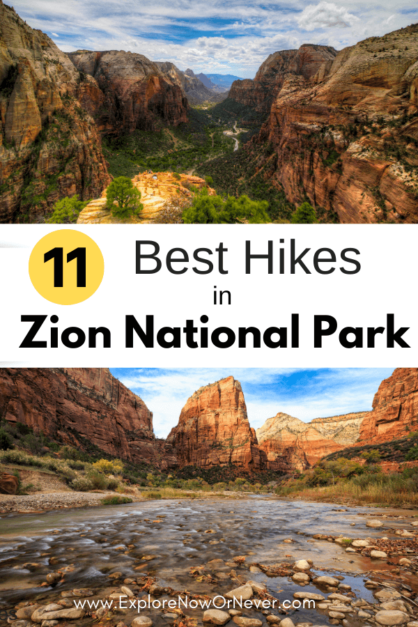text overlay of Zion hikes photos
