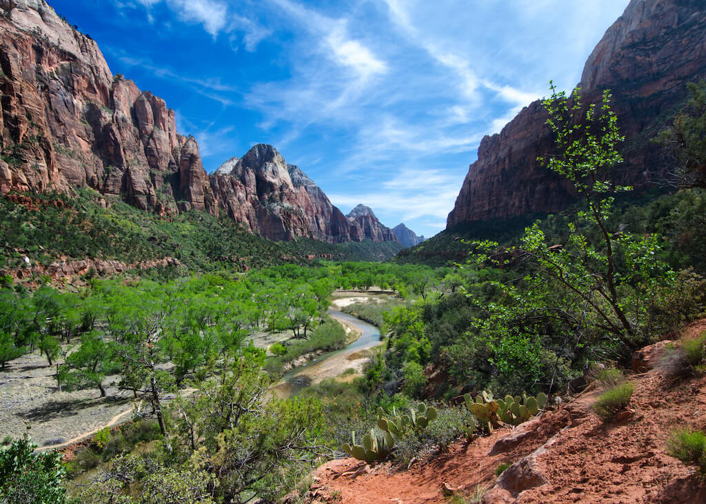 View of Emerald Pools at bottom of Zion Canyon
